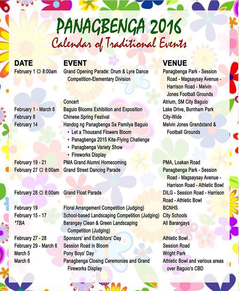 Panagbenga 2016 Schedule of Events